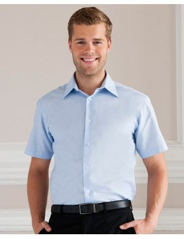 Russell Collection Men's Short Sleeve Easy Care Tailored Oxford Shirt Workwear