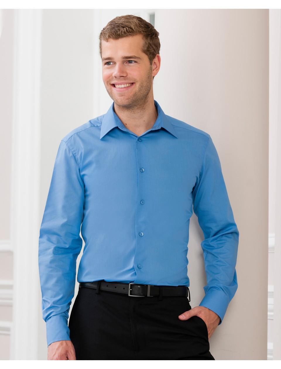 Russell collection men 39 s long sleeve polycotton poplin for Long sleeve poplin shirt