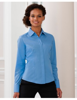 Russell Collection Ladies' Long Sleeve Polycotton Poplin Shirt Corporate Workwear