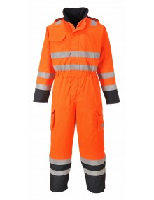 S775 - Bizflame Rain Hi-Vis Multi Coverall Orange/Navy