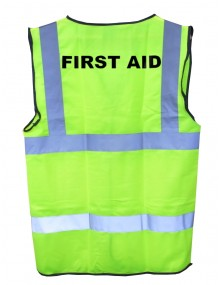 "Hi-Vis Yellow Waistcoat with ""First Aid""  Clothing"