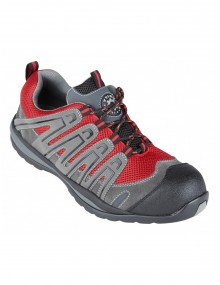 Halcon Red & Grey Metal Free Safety Trainer Shoes (4206) Footwear