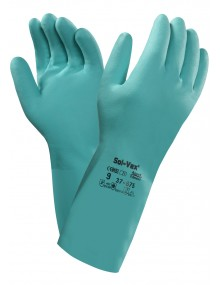 Ansell 37-675 Sol-vex Nitrile Flock Lined Gauntlet Gloves Specialized