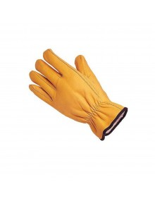 Lined Leather Driving Gloves - Yellow Cowhide