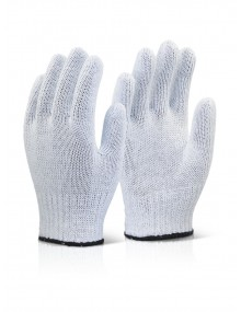White Bleached Mixed Fibre Gloves - Case of 240 Gloves