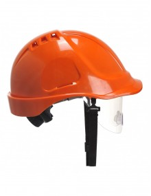 Portwest PW55 Retractable Visor Helmet - Orange Personal Protective Equipment