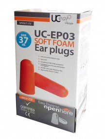 UC Ear Soft PU Foam Ear Plugs Box of 200 Ear Plugs