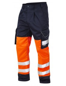 Leo Bideford Orange/Navy Polycotton Cargo Trousers  CT01-O/N High Visibility