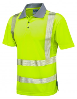 Leo Woolacombe Coolviz-PLUS Yellow Polo Shirt Hi-Viz P03-Y High Visibility