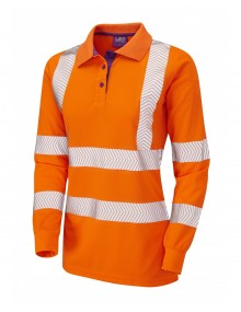 LeLeo Polyfield Ladies Coolviz-Plus Long Sleeve Polo - Orange