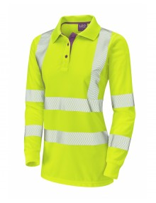 LeLeo Polyfield Ladies Coolviz-Plus Long Sleeve Polo -  Yellow
