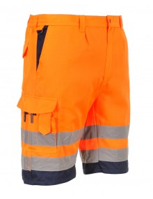 E043 Shorts - Orange/Navy Clothing