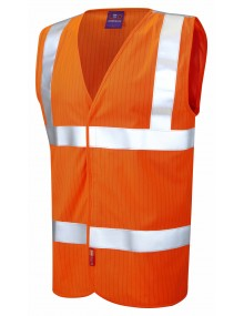 Leo Anti-Static Waistcoat W19 - Orange High Visibility