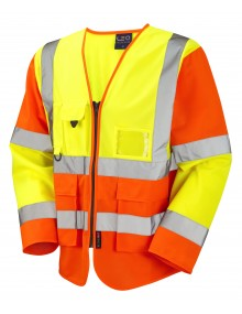 Leo Superior Class 3 Wrafton Sleeved Waistcoat - Yellow/Orange Clothing