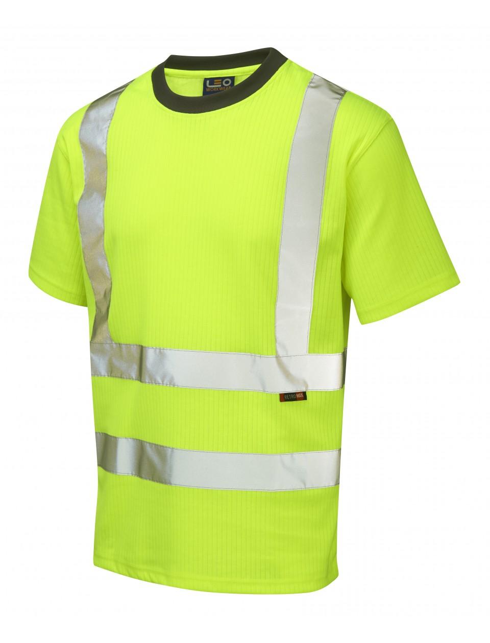 Leo newport comfort polycotton t shirt yellow for Hi vis t shirts cotton