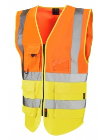 Leo Lynton Superior Class 2 Waistcoat - Orange/Yellow Clothing