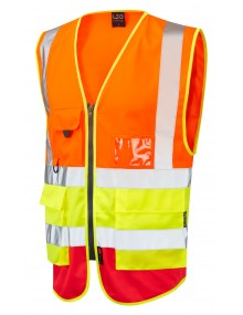 Leo Lynton Superior Class 2 Waistcoat - Orange/Yellow/Hi-Viz Red Clothing