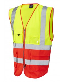 Leo Lynton Superior Class 2 Waistcoat - Yellow/Red Clothing