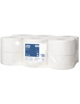 Tork Mini Jumbo Toilet Roll 120238 2ply White - Pack of 12 Hygiene
