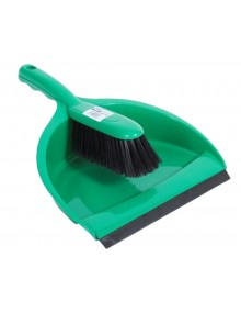 Dustpan & Brush Set - Stiff Bristles - Green