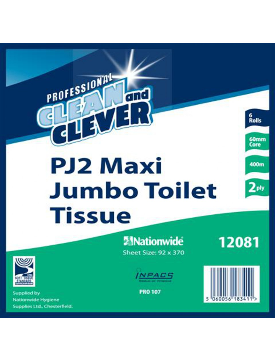 Maxi Jumbo Toilet Roll 12081- Pack of 6 Hygiene