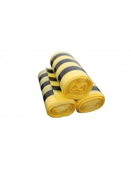 Case of 20 rolls of  50 20 litre tiger stripe clinical waste sacks Hygiene