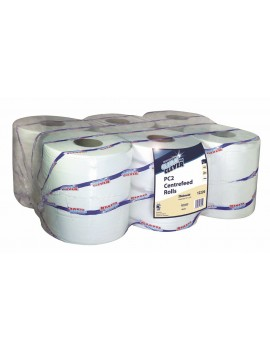 Clean & Clever Centrefeed Rolls - White - Pack of 6 Hygiene