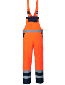 Portwest Unlined Contrast Bib & Brace S488 - Orange/Navy Clothing