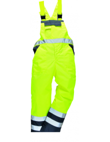 Portwest Lined Contrast Bib & Brace S489 - Yellow/Navy Clothing