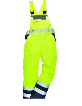 Portwest Unlined Contrast Bib & Brace S488 - Yellow/Navy Clothing