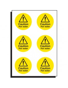 6 x Caution hot water stickers Site Products