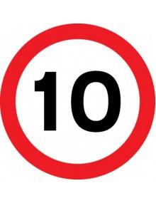 10mph sign in rigid plastic 400 x 400mm