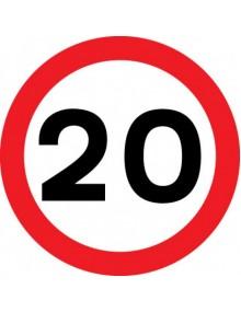 20mph sign in rigid plastic 400 x 400mm
